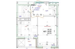 ЖК Олімпійський: планування 1-кімнатної квартири 43.74 м²