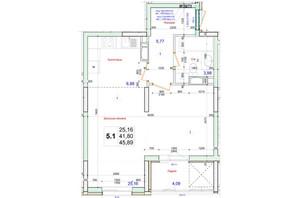 ЖК Олімпійський: планування 1-кімнатної квартири 45.89 м²