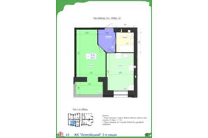 ЖК Олімпійський: планування 1-кімнатної квартири 39.47 м²