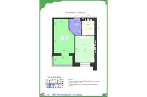 ЖК Олімпійський: планування 1-кімнатної квартири 40.29 м²