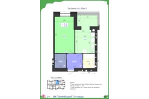 ЖК Олімпійський: планування 1-кімнатної квартири 45.58 м²