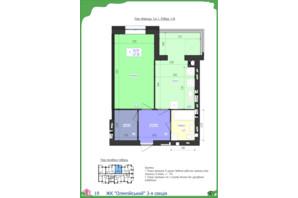 ЖК Олімпійський: планування 1-кімнатної квартири 47.1 м²