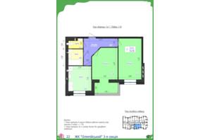 ЖК Олімпійський: планування 2-кімнатної квартири 56.98 м²