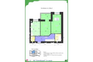 ЖК Олімпійський: планування 2-кімнатної квартири 59.83 м²