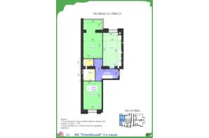 ЖК Олімпійський: планування 2-кімнатної квартири 70.49 м²