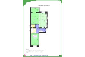 ЖК Олімпійський: планування 2-кімнатної квартири 72.19 м²