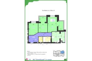 ЖК Олімпійський: планування 3-кімнатної квартири 75.92 м²
