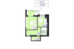 ЖК Олімпійський: планування 1-кімнатної квартири 39.53 м²