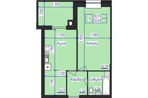 ЖК Олімпійський: планування 1-кімнатної квартири 50.68 м²