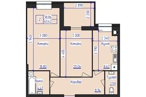 ЖК Олімпійський: планування 2-кімнатної квартири 63.42 м²