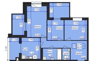 ЖК Олімпійський: планування 3-кімнатної квартири 80.09 м²