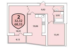 ЖК Олімпійський: планування 2-кімнатної квартири 68.33 м²
