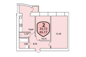 ЖК Олімпійський: планування 2-кімнатної квартири 65.17 м²