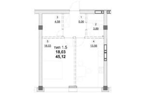ЖК Олімпійський New: планування 1-кімнатної квартири 45.12 м²