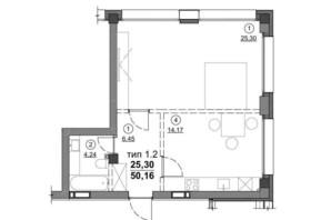 ЖК Олімпійський New: планування 1-кімнатної квартири 50.16 м²