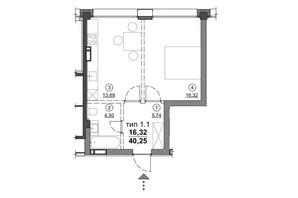 ЖК Олімпійський New: планування 1-кімнатної квартири 40.25 м²