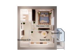 ЖК Олимп: планировка 1-комнатной квартиры 50 м²