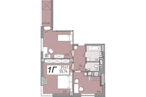 ЖК Олимп: планировка 2-комнатной квартиры 55.73 м²
