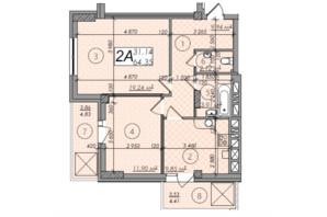 ЖК Олимп: планировка 2-комнатной квартиры 64.35 м²