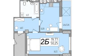 ЖК Олимп: планировка 1-комнатной квартиры 50.23 м²