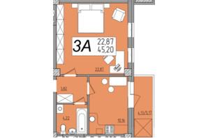 ЖК Олимп: планировка 1-комнатной квартиры 45.21 м²