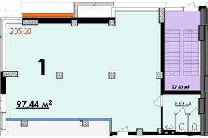 ЖК Олимп: планировка помощения 97.44 м²