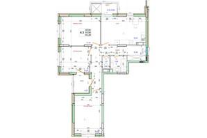 ЖК Олимпийский: планировка 3-комнатной квартиры 93.28 м²