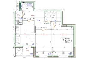 ЖК Олимпийский: планировка 2-комнатной квартиры 65.35 м²