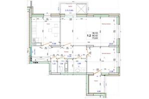ЖК Олимпийский: планировка 2-комнатной квартиры 73.63 м²