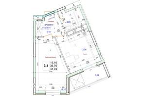 ЖК Олимпийский: планировка 1-комнатной квартиры 41.94 м²