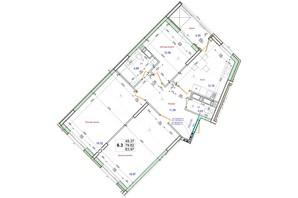 ЖК Олимпийский: планировка 3-комнатной квартиры 83.97 м²