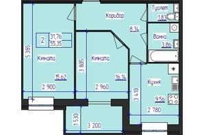 ЖК Олимпийский: планировка 2-комнатной квартиры 55.35 м²