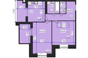 ЖК Олимпийский: планировка 2-комнатной квартиры 67.7 м²