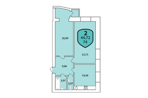 ЖК Олимпийский: планировка 2-комнатной квартиры 74 м²
