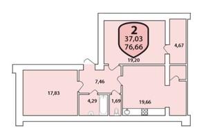 ЖК Олимпийский: планировка 2-комнатной квартиры 76.66 м²