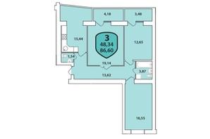 ЖК Олимпийский: планировка 3-комнатной квартиры 86.6 м²