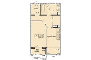 ЖК Олимпийский: планировка 1-комнатной квартиры 66.64 м²