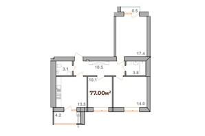 ЖК Опришівська Слобода: планування 3-кімнатної квартири 77 м²