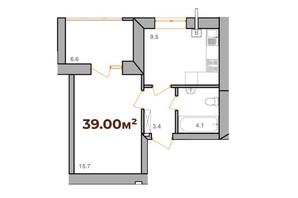 ЖК Опришівська Слобода: планування 1-кімнатної квартири 39 м²