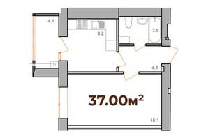 ЖК Опришівська Слобода: планування 1-кімнатної квартири 37 м²