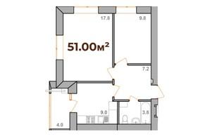 ЖК Опришівська Слобода: планування 2-кімнатної квартири 51 м²