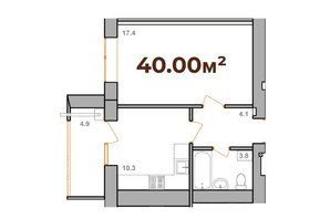 ЖК Опришівська Слобода: планування 1-кімнатної квартири 40 м²