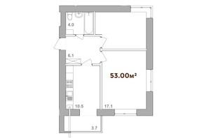 ЖК Опришівська Слобода: планування 2-кімнатної квартири 53 м²