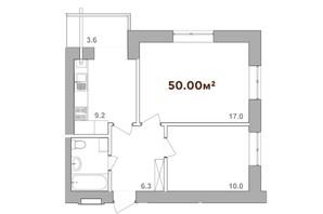 ЖК Опришівська Слобода: планування 2-кімнатної квартири 50 м²