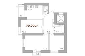 ЖК Опришівська Слобода: планування 3-кімнатної квартири 70 м²