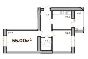 ЖК Опришівська Слобода: планування 2-кімнатної квартири 55 м²