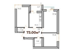 ЖК Опришівська Слобода: планування 3-кімнатної квартири 73 м²