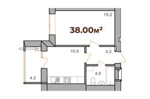 ЖК Опришівська Слобода: планування 1-кімнатної квартири 38 м²