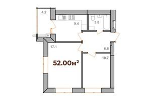 ЖК Опришівська Слобода: планування 2-кімнатної квартири 52 м²