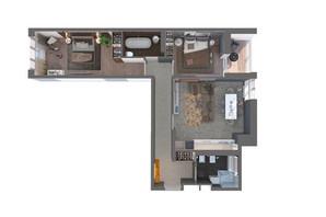 ЖК Оптимісто: планировка 2-комнатной квартиры 71.6 м²
